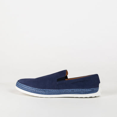 Comfortable blue leather loafers with white sole.