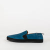 Comfortable blue leather loafers with black sole.