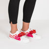 Low top sneakers in white leather with red gingham panels and interchangeable straps