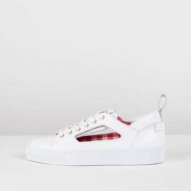 Low top sneakers in white leather with cut-out shape with detachable silk scarves in a raspberry-pattern
