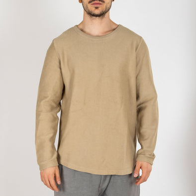 Khaki crewneck sweater made from 100% cotton jersey.