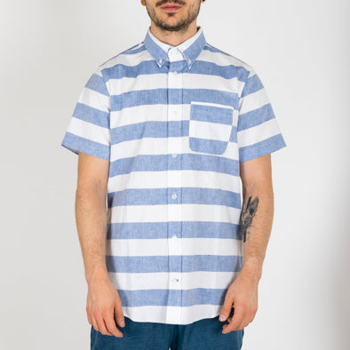 Summer shirt with white and blue large stripes.