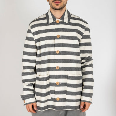 Black and white striped summer over-shirt with two front pockets.