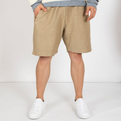 Khaki shorts made from a unique 100% cotton jersey.