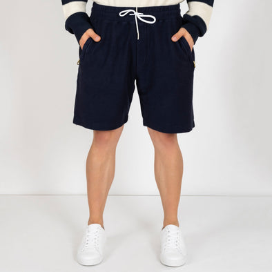 Blue shorts made from a unique 100% cotton jersey.
