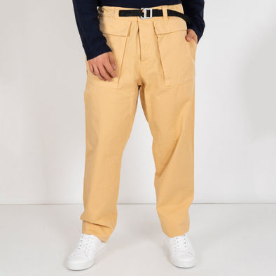 100% cotton cargo pants in beige.