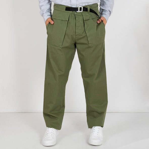 100% cotton cargo pants in green.
