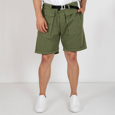 100% cotton cargo shorts in green.