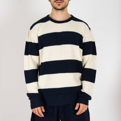 Light cotton white and navy striped knit sweater.