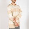 Light cotton white and beige striped knit sweater.