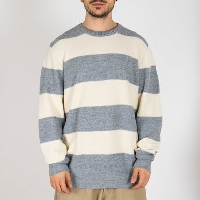 Light cotton white and grey striped knit sweater.