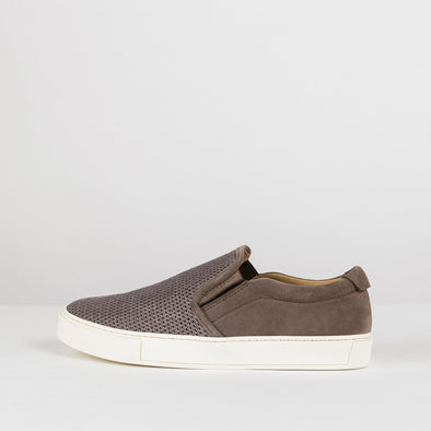 Low top slip-on sneakers in warm grey suede with mesh-look textile upper and white rubber sole