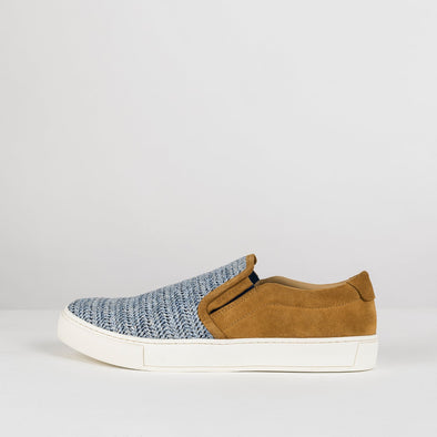 Low top slip-on sneakers in birch yellow suede with blue mesh-look textile upper and white rubber sole