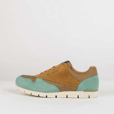 Classic lace-up runners in paneled birch yellow and teal blue suede and light brown mesh-texture fabric, with white rubber sole