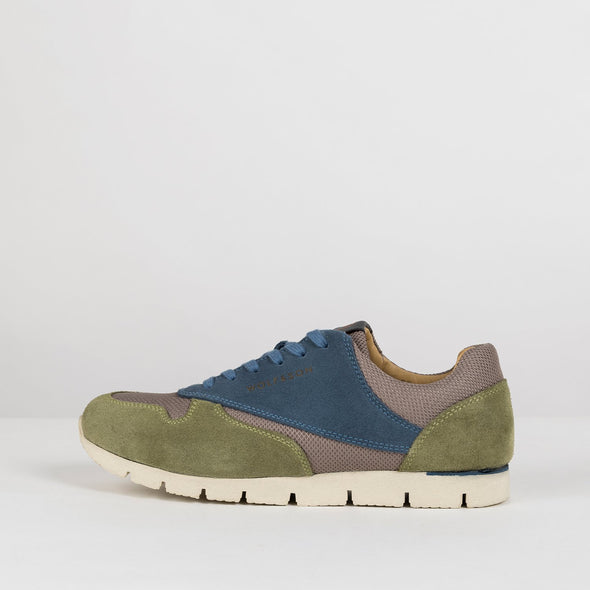 Classic lace-up runners in paneled green and blue suede and warm grey mesh-texture fabric, with white rubber sole
