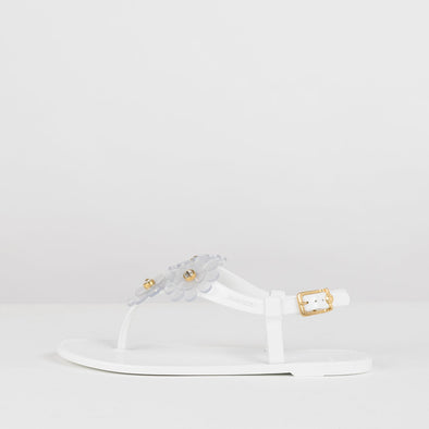 White synthetic sandals with transparent acrylic flower appliques