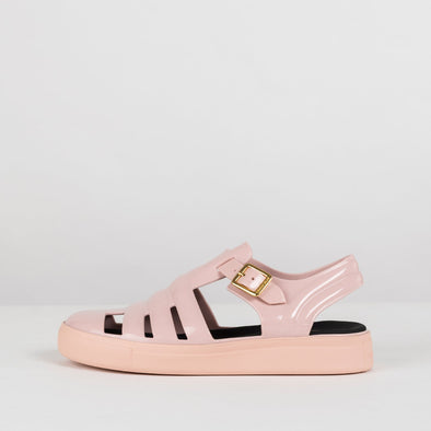 Rose pink strappy closed sandals in synthetic