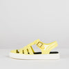 Yellow strappy closed sandals in synthetic with white sole