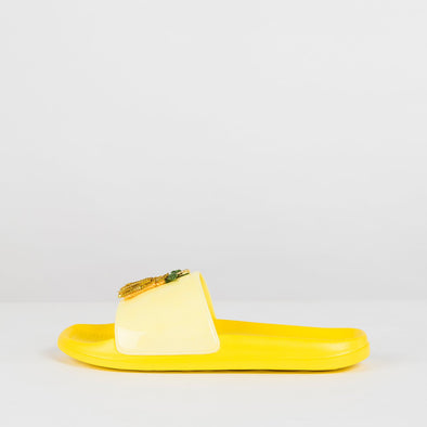 Pool slides in baby yellow with strawberry and banana sequined appliques