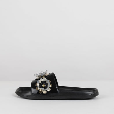 Pool slides in black with transparent acrylic flower appliques