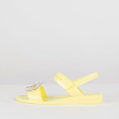 Sandals with two-straps and ankle buckle in yellow matte synthetic and acrlic flower appliques
