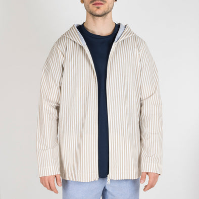 Light camel and white striped hoodie jacket.