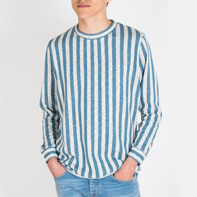 Simple sweater with cerulean blue and ivory stripes.