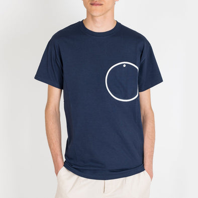 Navy blue t-shirt with a round pocket at the front.