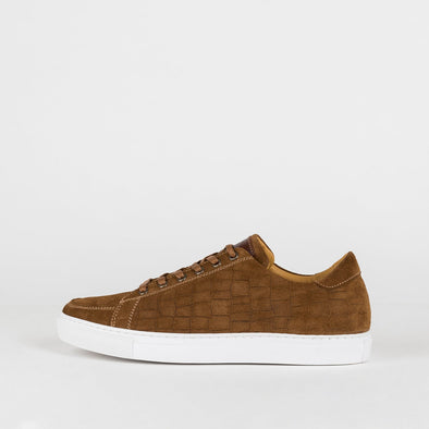 Classic-style sneakers in brown scale-textured suede.
