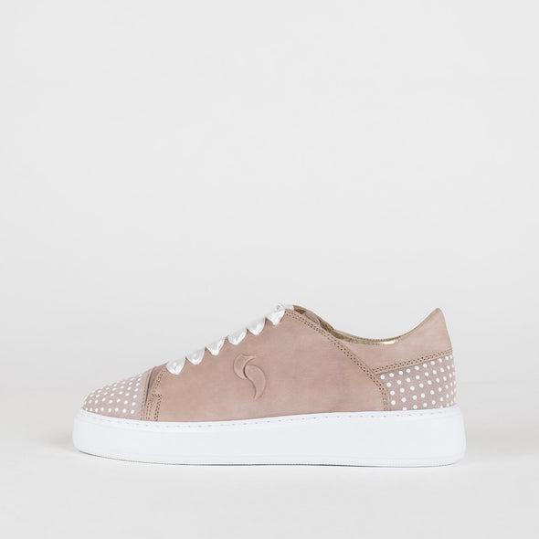 Sneakers in nude shades with pearl details and reinforced sole.