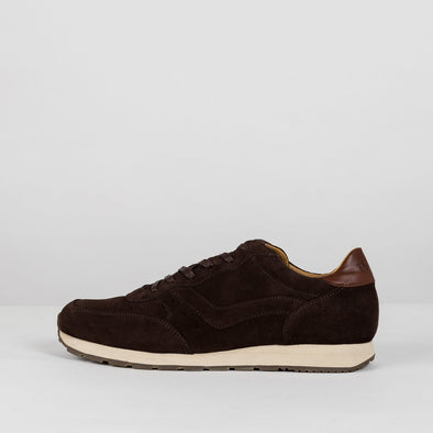 Classic runners in brown paneled suede with leather heel tab and off-white rubber sole