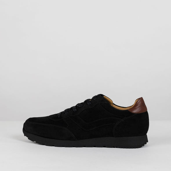 Classic runners in black paneled suede with brown leather heel tab and black rubber sole