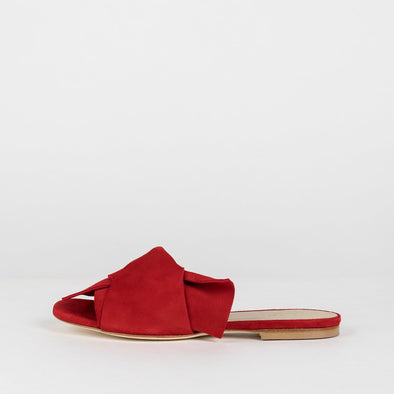 Elegant slippers with large loose knot in red suede