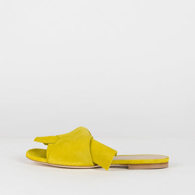 Elegant slippers with large loose knot in canary yellow suede