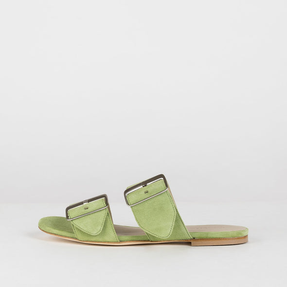 Double-buckle slippers in lime green suede