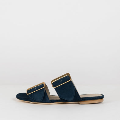 Double-buckle slippers in navy blue suede
