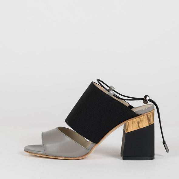 Double-strap sandals in grey leather and black suede with black block heel with wooden print detail and slingback tie thin elastic