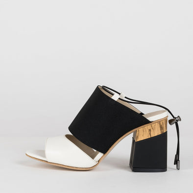 Double-strap sandals in white leather and black suede with black block heel with wooden print detail and slingback tie thin elastic