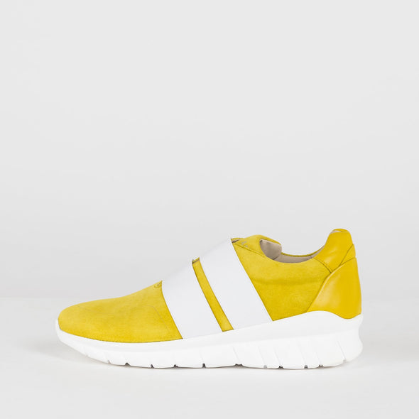 Slip-on runners in canary yellow suede with matching leather heel panel, double elastic in white and white rubber sole