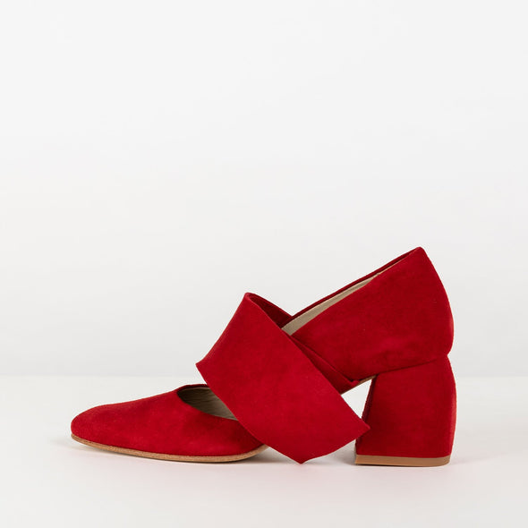 Pointed toe short pumps in red suede with ankle-wrap ties and block heel.