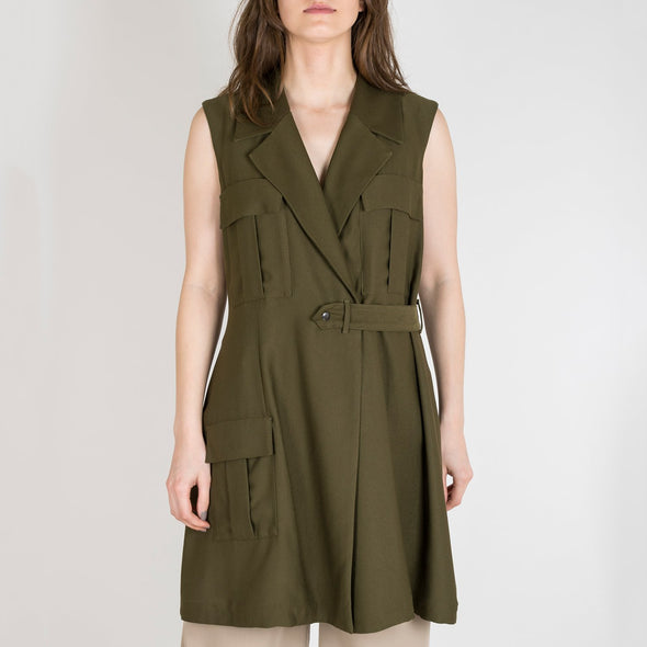 Double-breasted olive military vest with pocket detail.