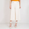 Off-white wide cropped-leg culottes.