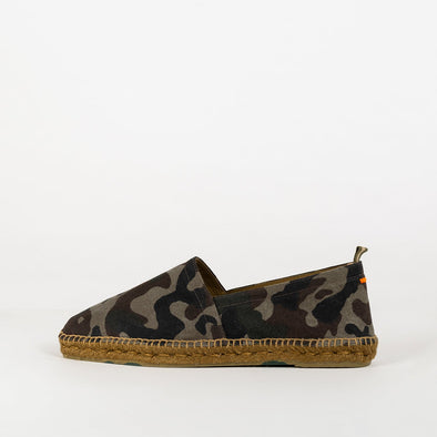 Military green camo print espadrilles with rubber sole.