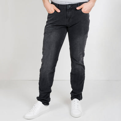 Slim carrot fit black jeans.