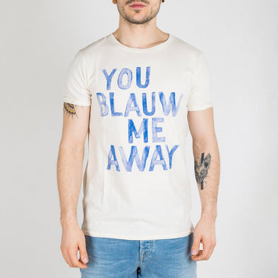 A cotton jersey t-shirt with printed text artwork. The tee has short sleeves and a crew neck.