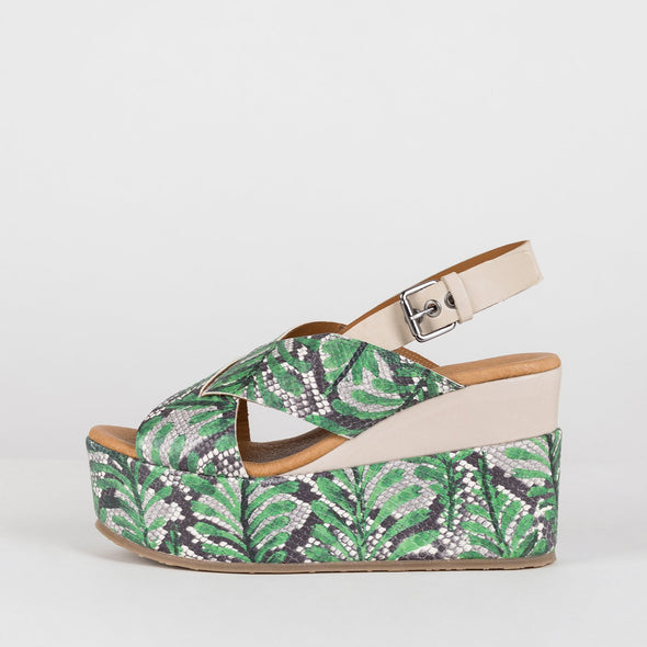 Platform cross-strap sandals in palmtree print leather with slingback leather buckstrap in beige and beige panel on the sole