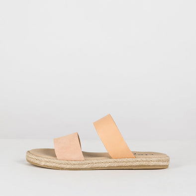 Double-strap sandals in duotone beige leather with espadrille sole