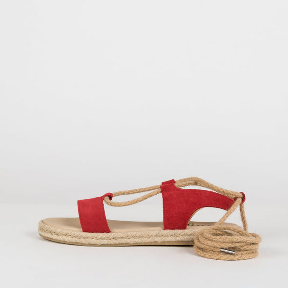 Gladiator-style lace-up sandals in red suede with rope laces and espadrille sole
