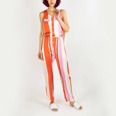 Sleeveless crewneck jumpsuit in multicolored stripes.