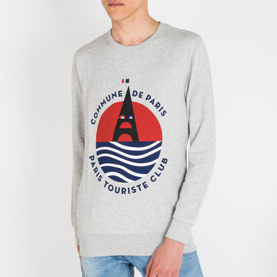 Crew neck cotton fleece sweatshirt with a large season's serigraphy on the chest.